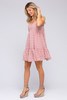 Button Detail Pink Dotted Babydoll Dress