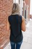 V-Neck Sleeveless Black Crinkle Blouse