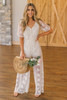 Button Down Natural Lace Jumpsuit