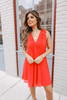 V-Neck Pleated Red Dotted Dress