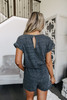 Drawstring Charcoal Terry Romper