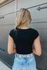 Square Neck Ribbed Black Bodysuit