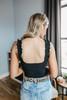 Ruffle Strap Black Ribbed Bodysuit