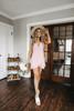 Cap Sleeve Pink Layered Wrap Dress