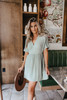 Short Sleeve Sage Empire Dress