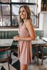 V-Neck Ribbed Mauve Babydoll Dress