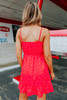 Ruffle Detail Red Dotted Wrap Dress