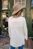 Textured White Button Down Blouse