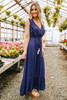Deep Sea Surplice Tassel Tie Navy Maxi