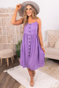 Button Down Purple Midi Dress