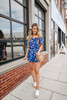 Everly Short Sleeve Navy Floral Romper