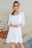 Square Neck Dotted White Babydoll Dress