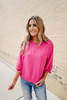 3/4 Ruffle Sleeve Hot Pink Blouse