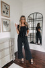 Everly Tie Front Black Jumpsuit