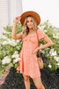 Cabo Coast Orange Floral Peasant Dress