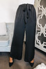 Drawstring Black Satin Pants