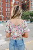 Short Sleeve Floral Peasant Top