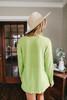 V-Neck Soft Ribbed Lime Top