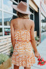 Strapless Ruffle Orange Striped Dress
