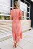 Ruffle Sleeve Surplice Coral Midi Dress