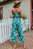 Ruffle Surplice Green Floral Jumpsuit
