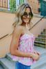 Button Down Pink Palm Print Tank