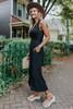 V-Neck Smocked Waist Black Jumpsuit
