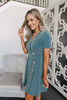 Asymmetrical Button Teal Ribbed Dress