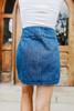 Button Down Belted Denim Skirt
