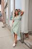 Short Sleeve Sage Floral High Low Dress