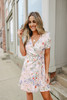 Short Sleeve Blush Floral Wrap Dress