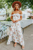 Odella Off the Shoulder Ivory Floral Smocked Maxi