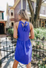 Tie Back Royal Blue Babydoll Dress
