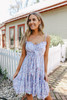 Tie Front Sweetheart Lavender Floral Dress