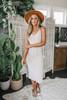 V-Neck Drawstring Beige Grey Knit Midi Dress