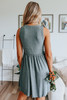 Ruffle Waist Green Ribbed Dress