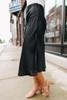 Casting Call Black Satin Midi Skirt