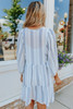 3/4 Sleeve Textured Striped Tiered Dress
