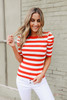 Puff Sleeve Red Striped Top