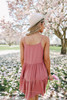 V-Neck Rose Tiered Dotted Dress