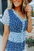 Short Sleeve Navy Floral Colorblock Dress