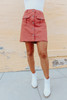 Button Down Terracotta Cargo Skirt