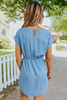 Short Sleeve Faux Wrap Chambray Dress