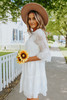 3/4 Sleeve Embroidered White Tiered Dress