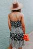 Button Detail Black Floral Colorblock Dress