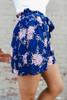 Tie Waist Navy Floral Shorts