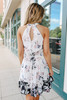 Halter Neck Watercolor Floral Dress