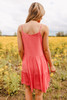 Button Detail Tiered Coral Dress