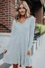 V-Neck Soft Brushed Grey Empire Dress
