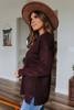 V-Neck Ribbed Detail Burgundy Sweater
